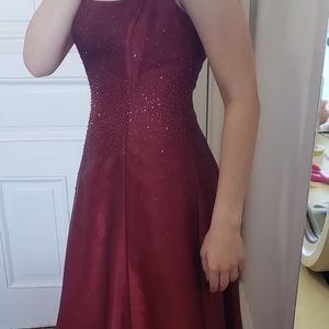 Prom/formal wine colored dress.